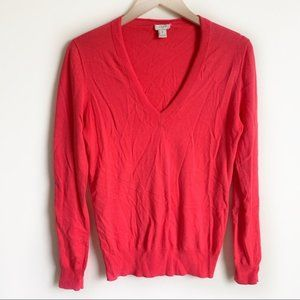 J Crew Sweater Pullover V Neck Long Sleeve Pink S